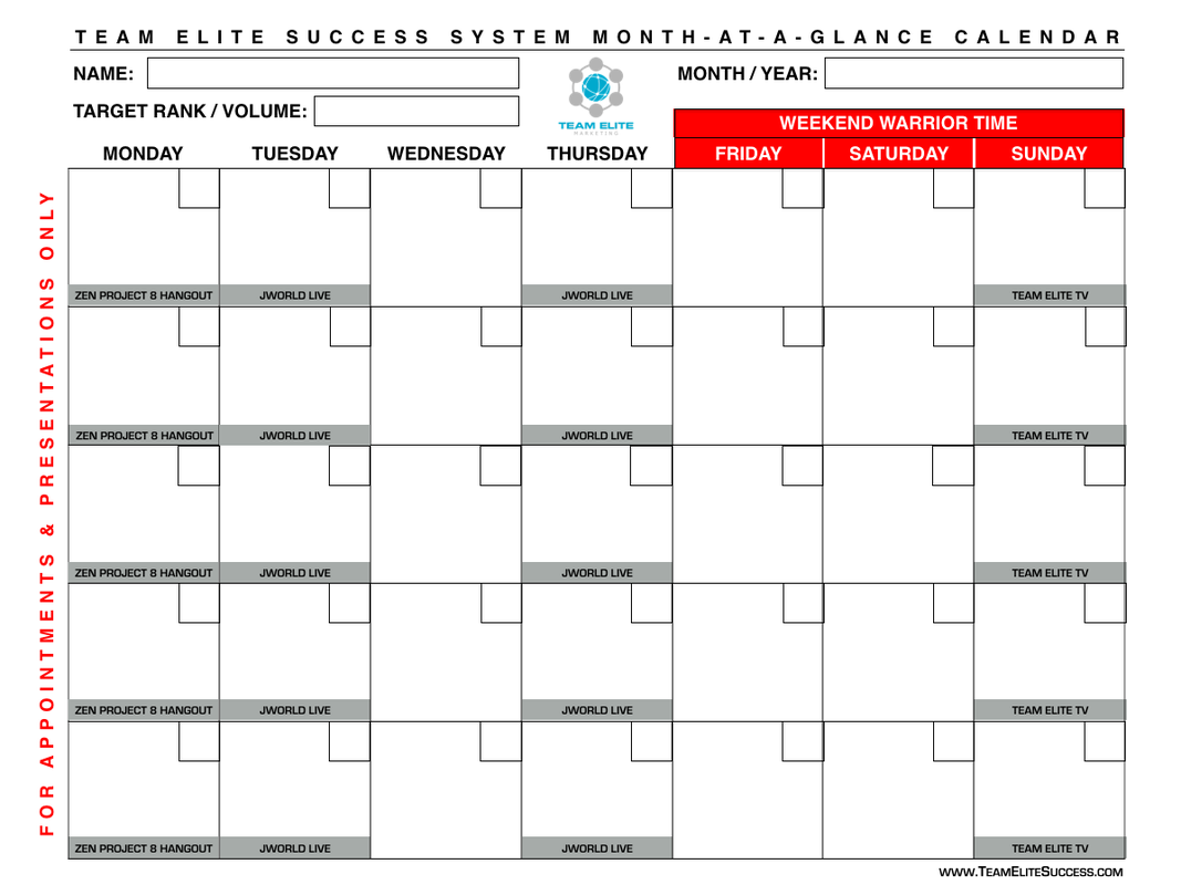 MONTH-AT-A-GLANCE CALENDAR - Team ELITE Jeunesse